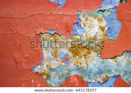 texture of old painted wall with defects, background