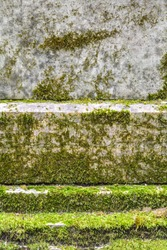 Texture of old red granite stone wall with layered green moss. Natural stone surface with moss. Ancient granite wall