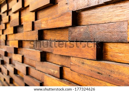 texture of old wooden wall and square wood overlap