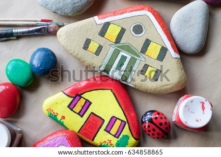 texture of painted stones as homes