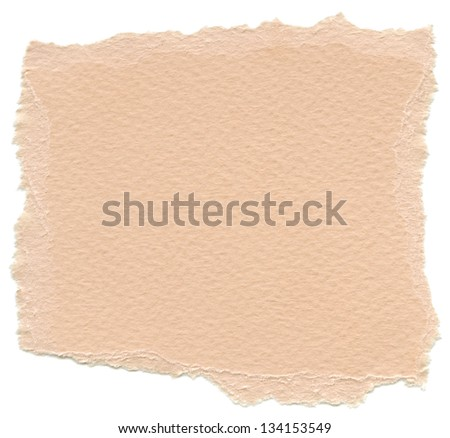 Texture of peach orange fiber paper with torn edges. Isolated on white background.