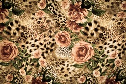texture of print fabric striped leopard and flower for background