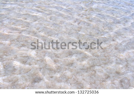 Texture of raw salt on a bottom of a salty lake
