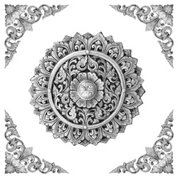 Texture of silver metal flower carved vintage background.Ornament of silver plated vintage floral on white background