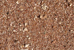 texture of small stones and sand. Background from beach pebbles. View from above. blank for text.