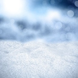 texture of snow and blue cold background of blurr