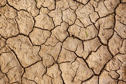 Texture of the dried earth with clay and sand, close-up