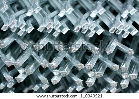 Texture of the end of steel grating.