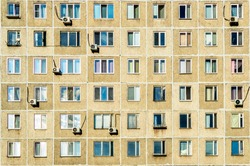 Texture of the Soviet panel building. Windows of Kazan.