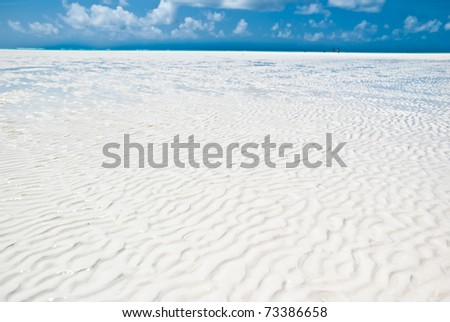 texture of the white sand in a beach of Zanzibar during a low tide