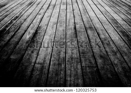 texture of wooden boards floor Black and white