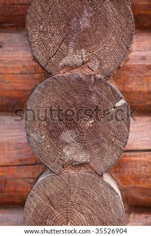 Texture of wooden walls. Cut of tree