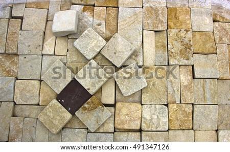 texture of yellow sandstone bricks close-up, pattern #491347126