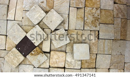 texture of yellow sandstone bricks close-up, pattern #491347141