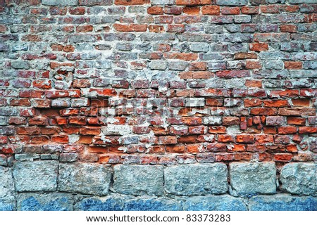 Texture - old red brick wall