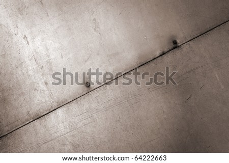 Texture old scratch metallic of the sheet with rusty nail
