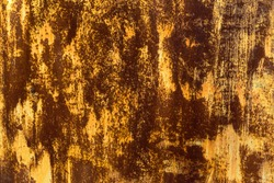 Texture painted rusted metal, colored background with iron fence. grunge green-yellow old dirty abstract Background. Oxidized Metal blue-green Copper Patina and iron oxide texture.