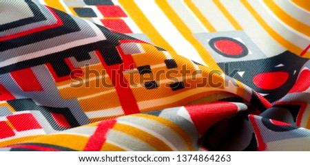 Texture  pattern. silk fabric in geometric abstract forms. Screen printing on silk duck; This versatile medium weight fabric is perfect for your projects Create a design The possibilities are endless #1374864263