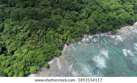 Texture Rich Low Tide Aerial Photography of the Cabo Blanco Coastline in Tropical Costa Rica.  Birds Eye View Drone Stockfoto ©
