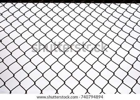 Texture the cage metal net isolate on white background. fence with barbed wire #740794894