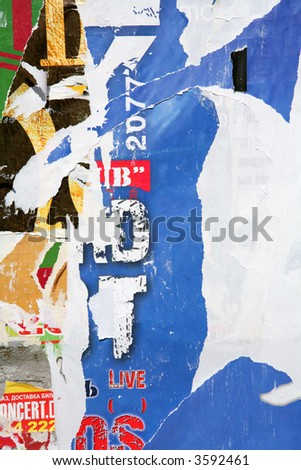 Texture, Varicolored Concrete Wall with Scrap of the Posters and Announcements, Background