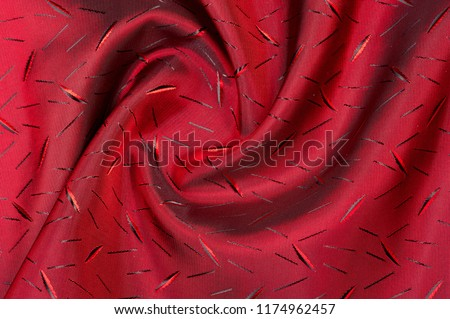textured, background. drawing. Red silk fabric. This particular design of the weave gives the fabric an extraordinary unique drapery, a body and a controlled matte satin sheen #1174962457