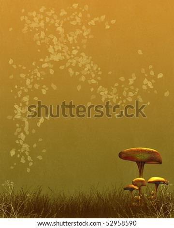 Textured background paper with autumn (fall) design of a group of gold toadstools and swirling leaves suitable for cards, designs, scrapbooking, wallpapers and websites, copyspace for designs or text