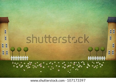 Textured background with houses on flowering meadow. Computer Graphics.
