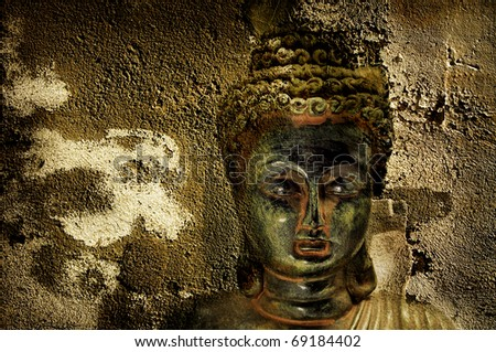 textured background with the image of buddha