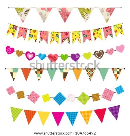 Textured bunting and garland set. Raster version