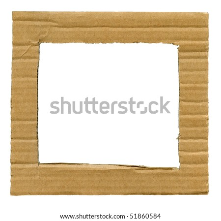 Textured cardboard frame with rough edges isolated over white