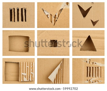 Textured cardboard frame with torn edges - stock photo