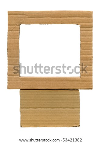 Textured cardboard frame with torn edges isolated over white