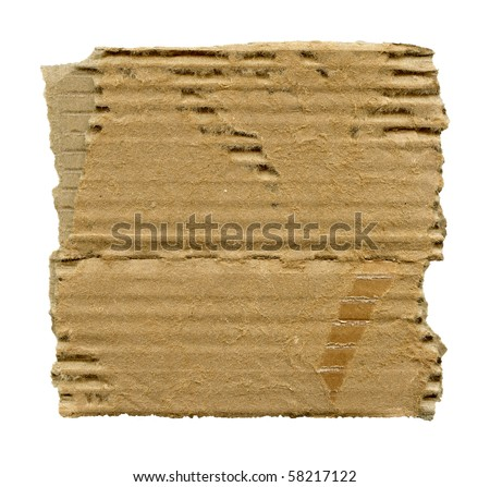 Textured cardboard with torn edges isolated on white