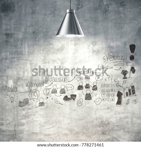 Textured concrete wall with lamps and creative business doodle. Startup and workshop concept #778271461