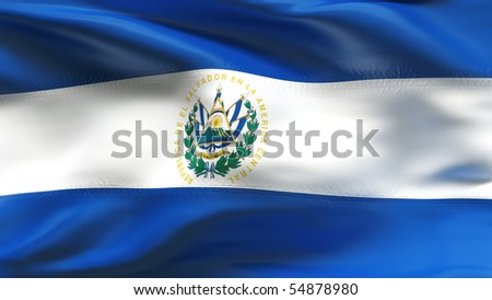 Textured EL SALVADOR  cotton flag with wrinkles and seams