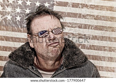 Textured Grunge image of a Man with USA Glasses