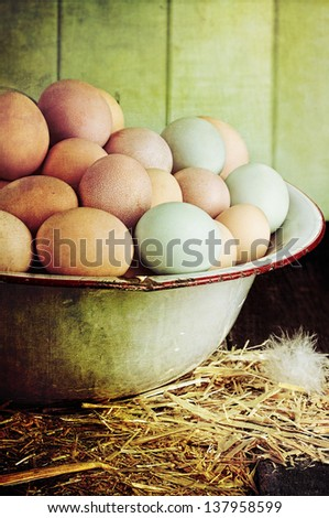 Textured image of an antique wash pan filled with colorful fresh farm raised eggs against a rustic background.