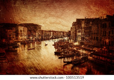 Textured image of Grand Canal in Venice - Italy