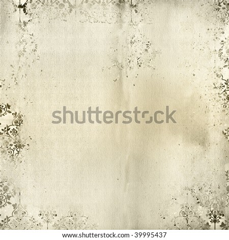 Textured look background in ivory with grunge Damask print