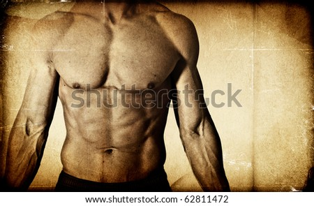 Textured male bodybuilder background