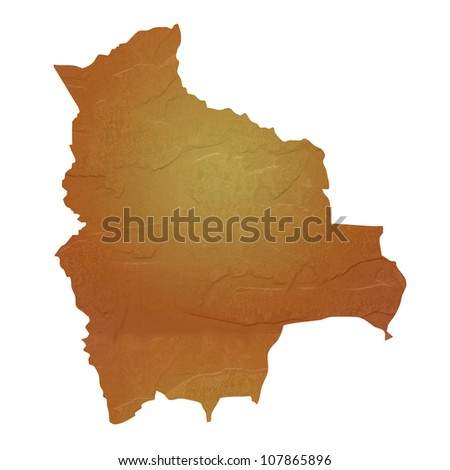 Textured map of Bolivia map with brown rock or stone texture, isolated on white background with clipping path.