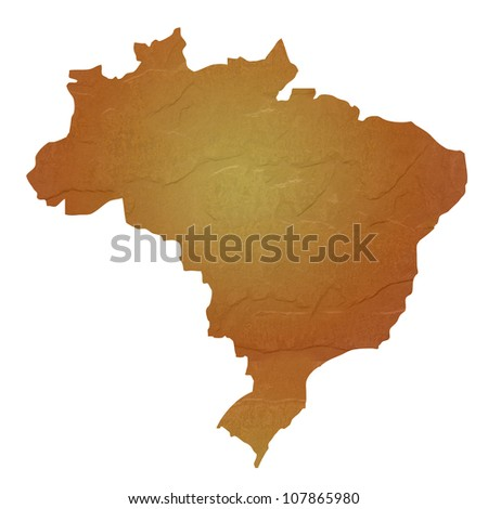 Textured map of Brazil map with brown rock or stone texture, isolated on white background with clipping path.