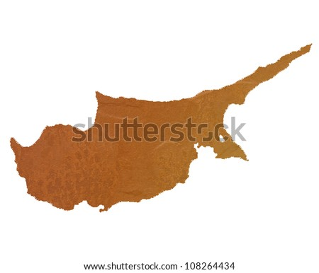 Textured map of Cyprus map with brown rock or stone texture, isolated on white background with clipping path.
