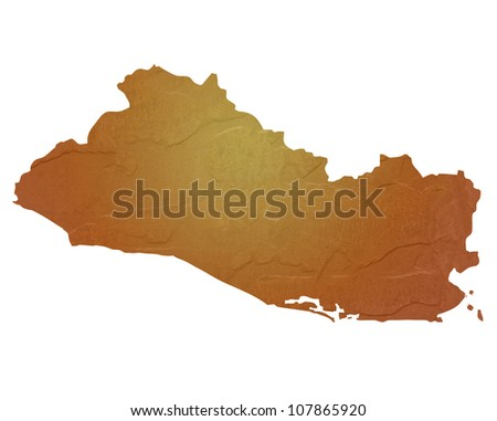 Textured map of El Salvador map with brown rock or stone texture, isolated on white background with clipping path.