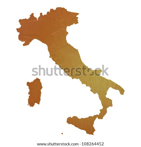 Textured map of Italy map with brown rock or stone texture, isolated on white background with clipping path.