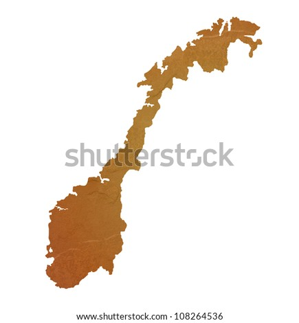 Textured map of Norway map with brown rock or stone texture, isolated on white background with clipping path. - stock photo