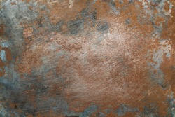 Textured metal surface with detailed traces of corrosion, rust and scratches
