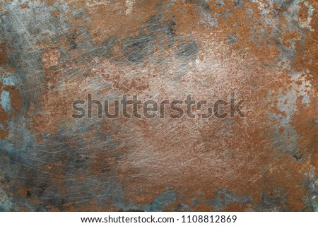 Textured metal surface with detailed traces of corrosion, rust and scratches #1108812869