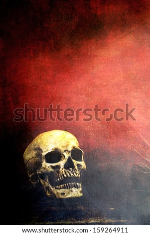 Textured old human skull with room for text.
